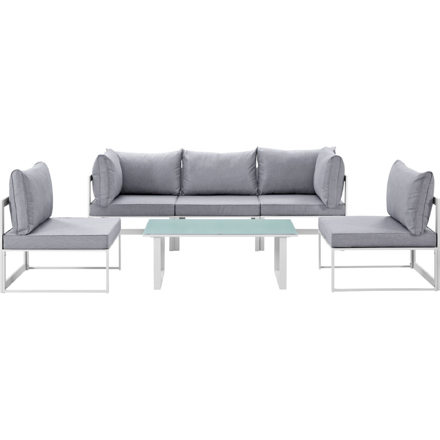6-Piece Outdoor Sectional In Gray Cushion Fabric - image-1