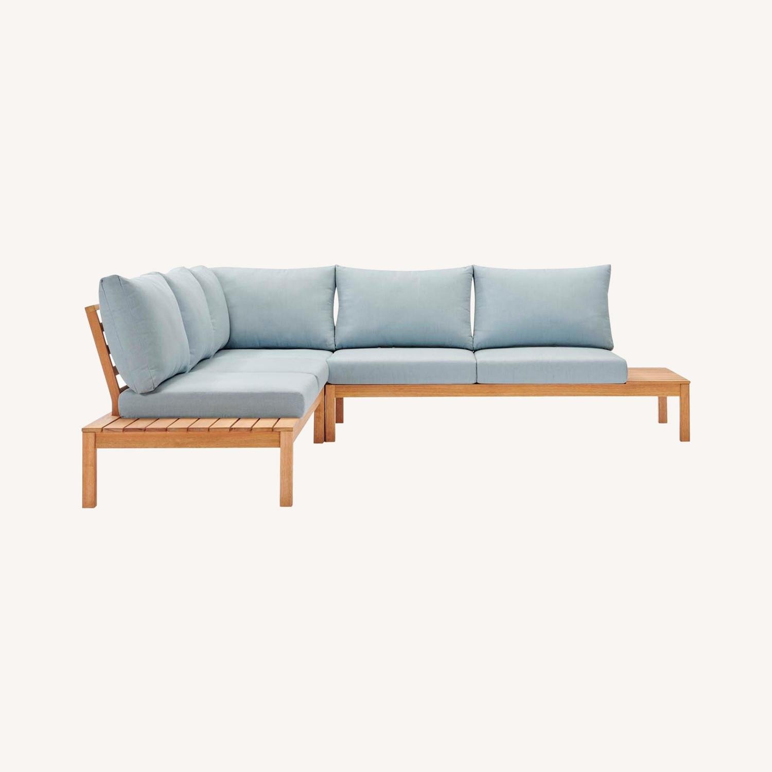 3-Piece Outdoor Sectional In Natural Light Blue - image-9