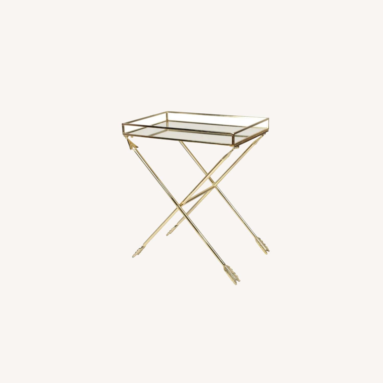 Bronze Mirrored Tray Table, Arrow Design - image-0
