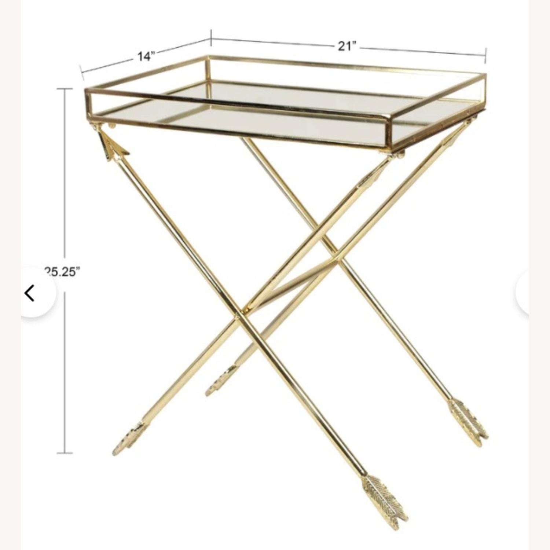 Bronze Mirrored Tray Table, Arrow Design - image-4