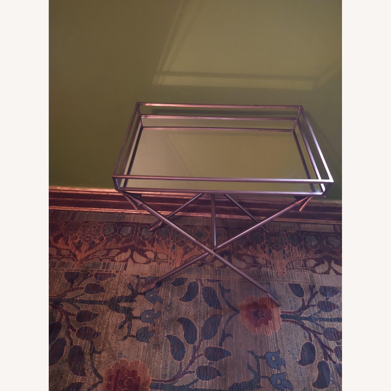 Bronze Mirrored Tray Table, Arrow Design - image-2