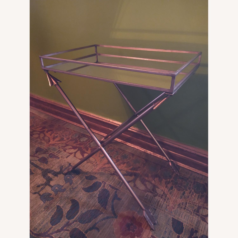 Bronze Mirrored Tray Table, Arrow Design - image-1
