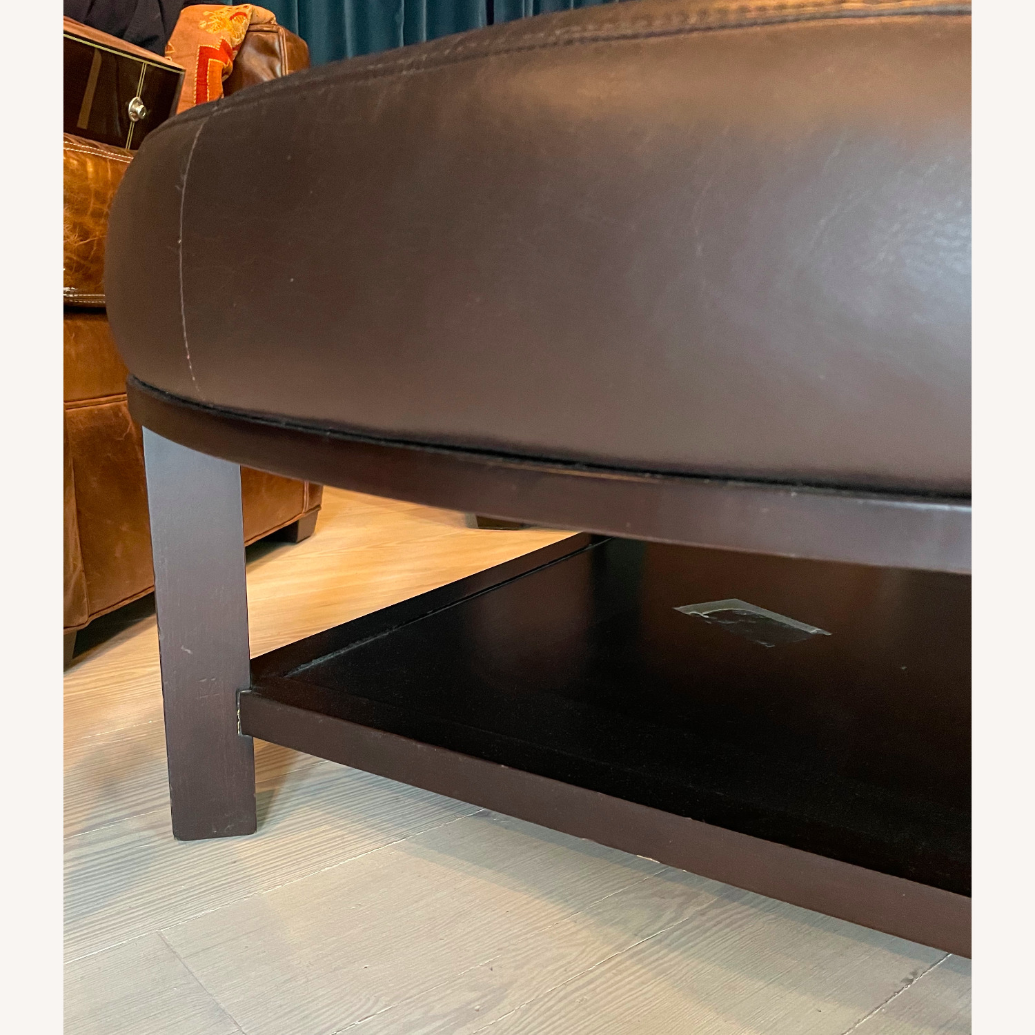 Leather Round Ottoman Table - image-2