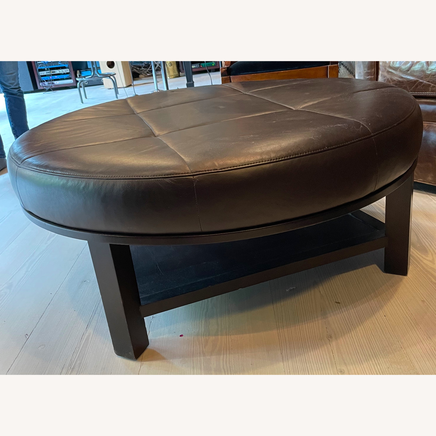 Leather Round Ottoman Table - image-4