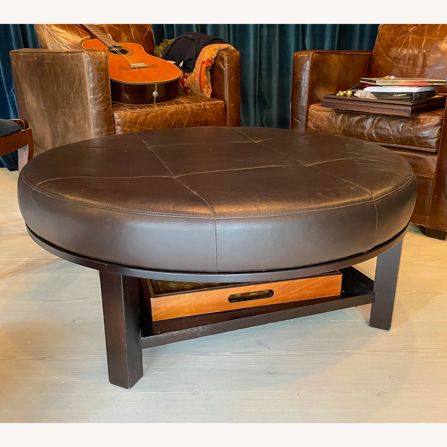 Leather Round Ottoman Table - image-0