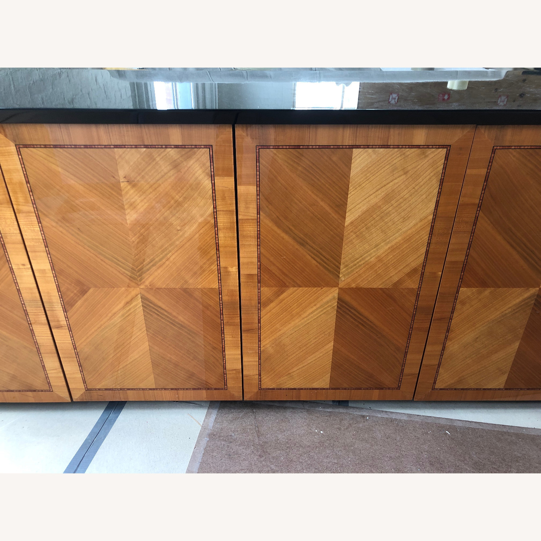 Set(2) Black Top Credenzas with Wood Front - image-2