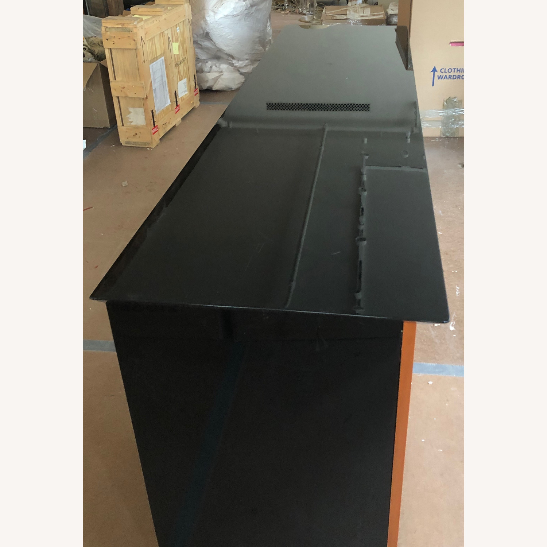 Set(2) Black Top Credenzas with Wood Front - image-1