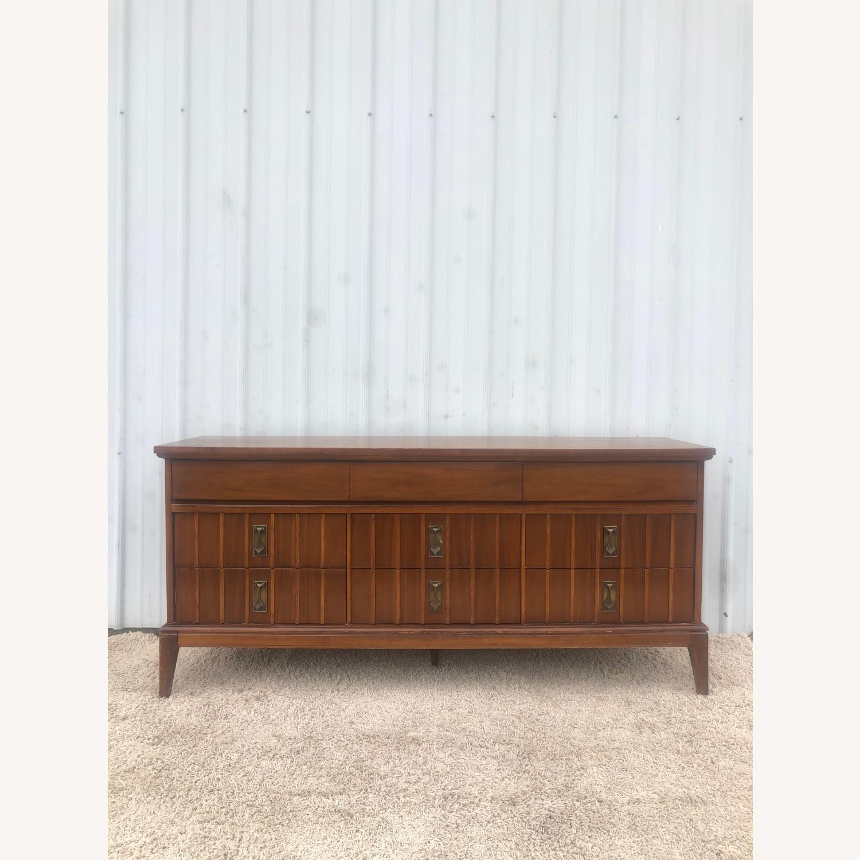 Mid Century 9 Drawer Dresser with Brass Hardwar - image-1