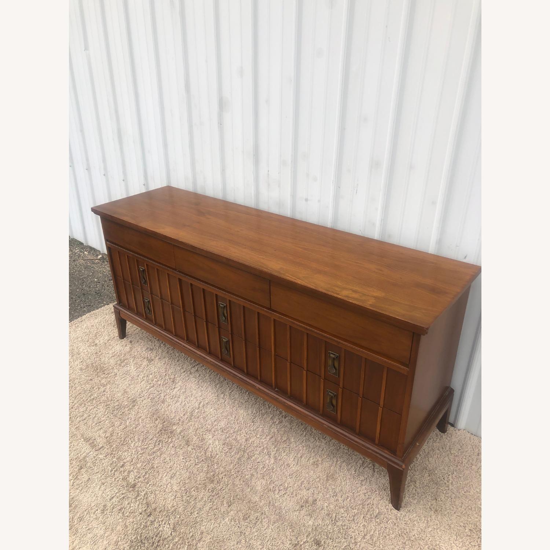 Mid Century 9 Drawer Dresser with Brass Hardwar - image-9