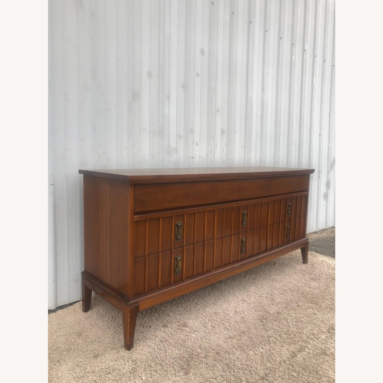 Mid Century 9 Drawer Dresser with Brass Hardwar - image-5