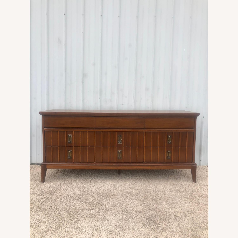 Mid Century 9 Drawer Dresser with Brass Hardwar - image-3