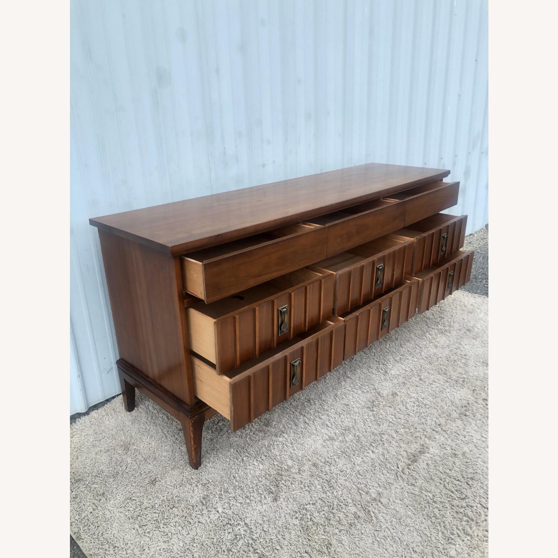 Mid Century 9 Drawer Dresser with Brass Hardwar - image-18