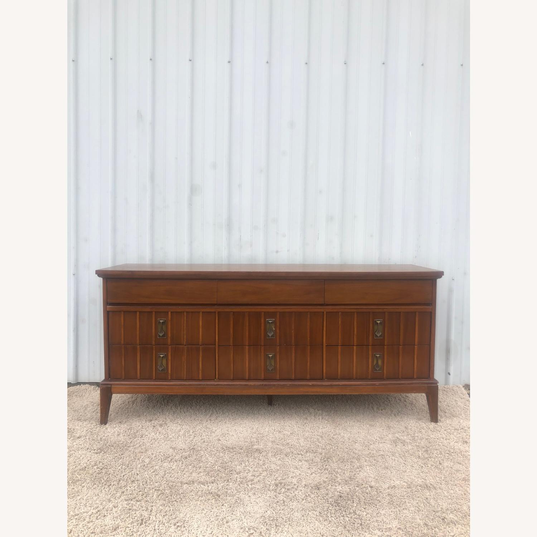 Mid Century 9 Drawer Dresser with Brass Hardwar - image-2