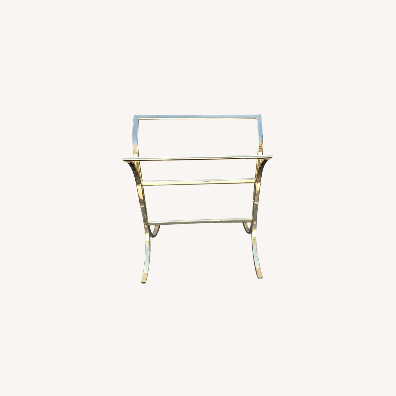 Vintage Brass Plated Quilt Rack - image-0