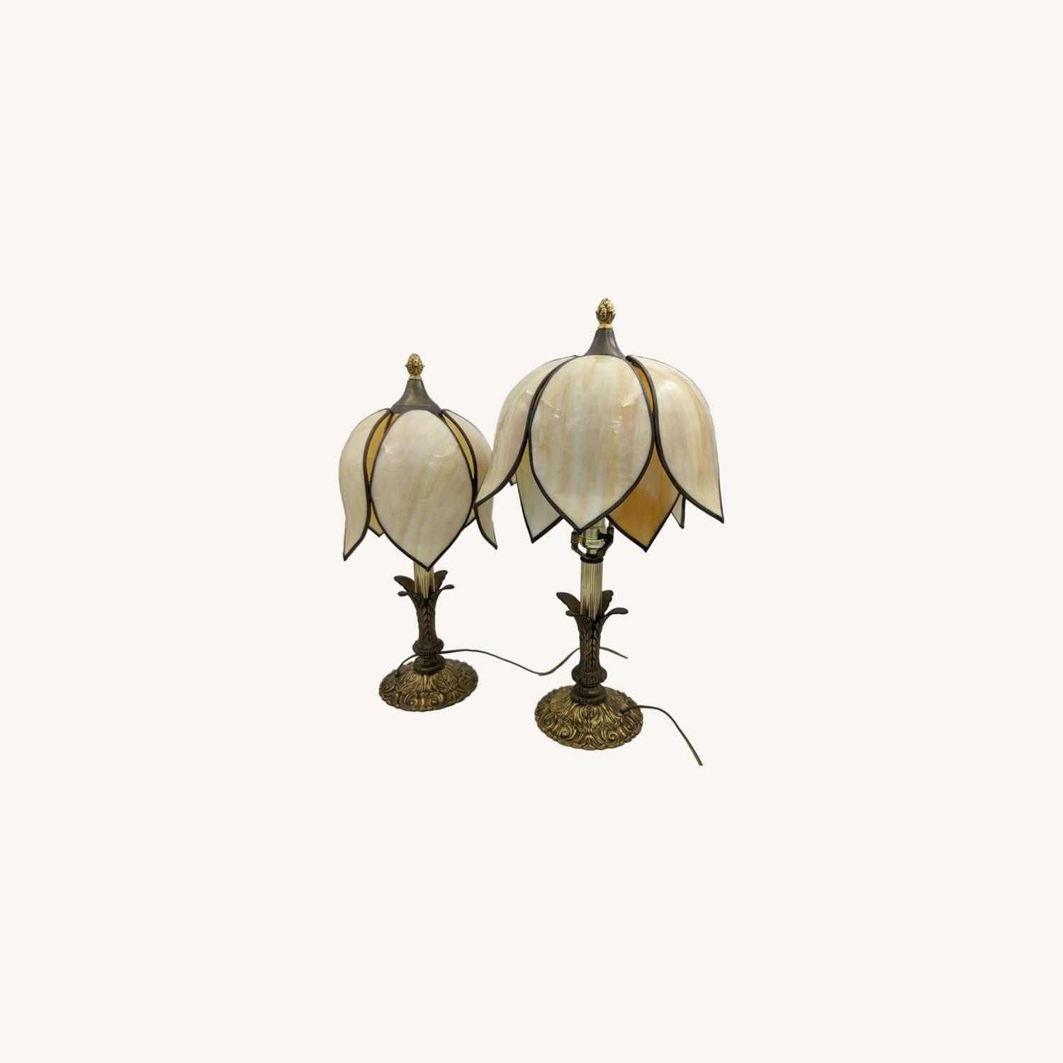 Set of 1920s Tulip Table Lamps - Slag Glass - image-0
