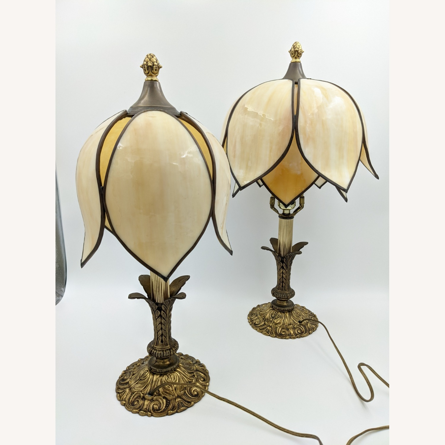 Set of 1920s Tulip Table Lamps - Slag Glass - image-1