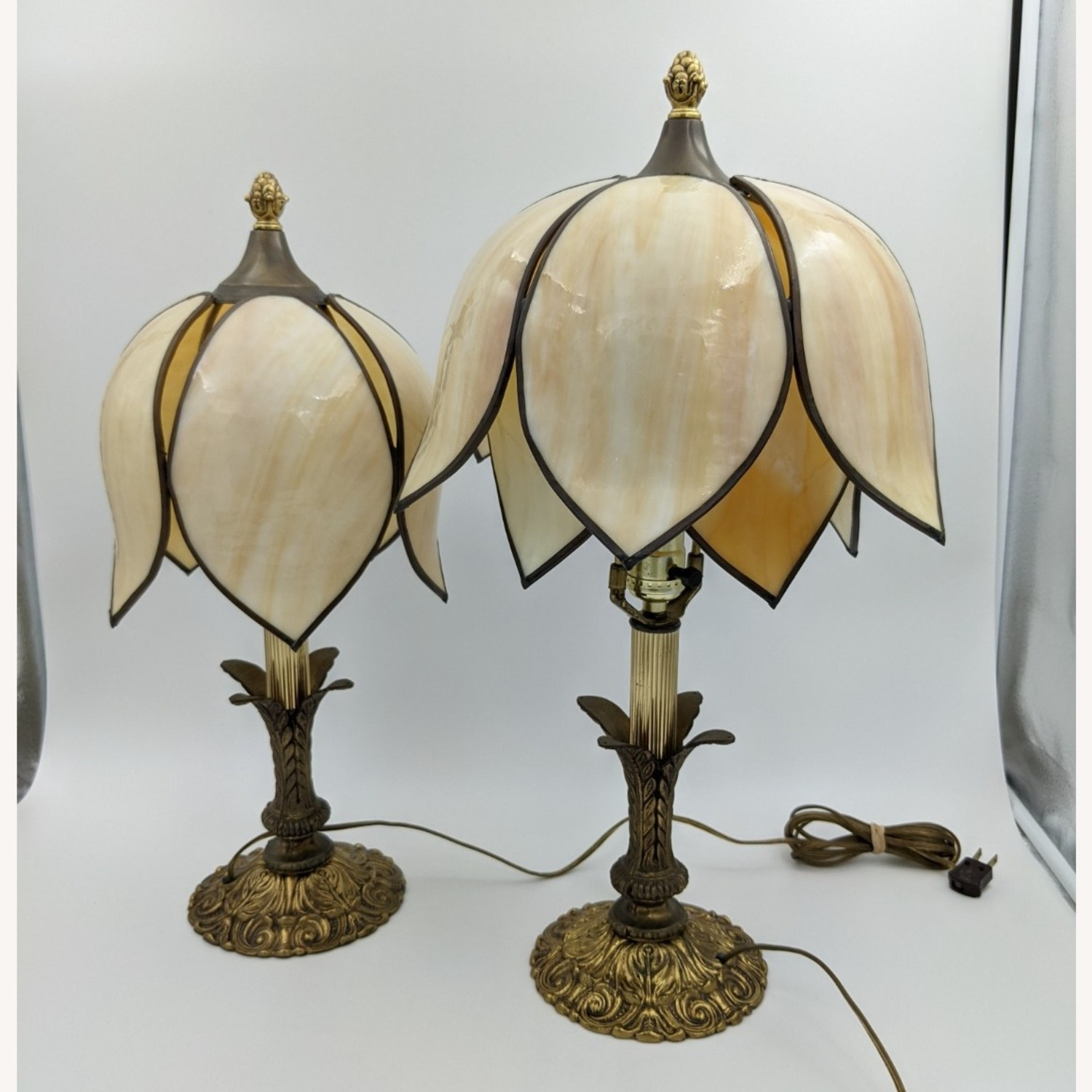 Set of 1920s Tulip Table Lamps - Slag Glass - image-6