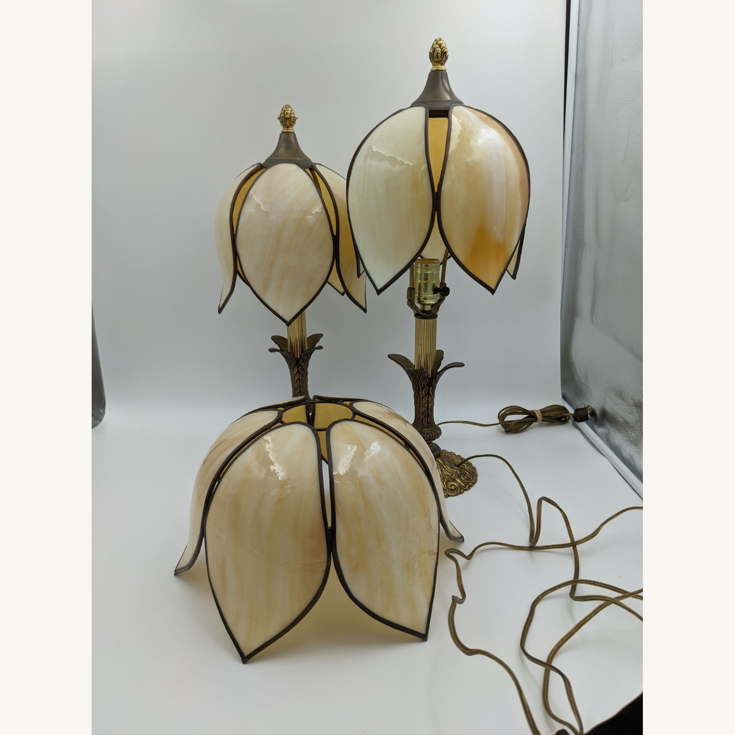 Set of 1920s Tulip Table Lamps - Slag Glass - image-5