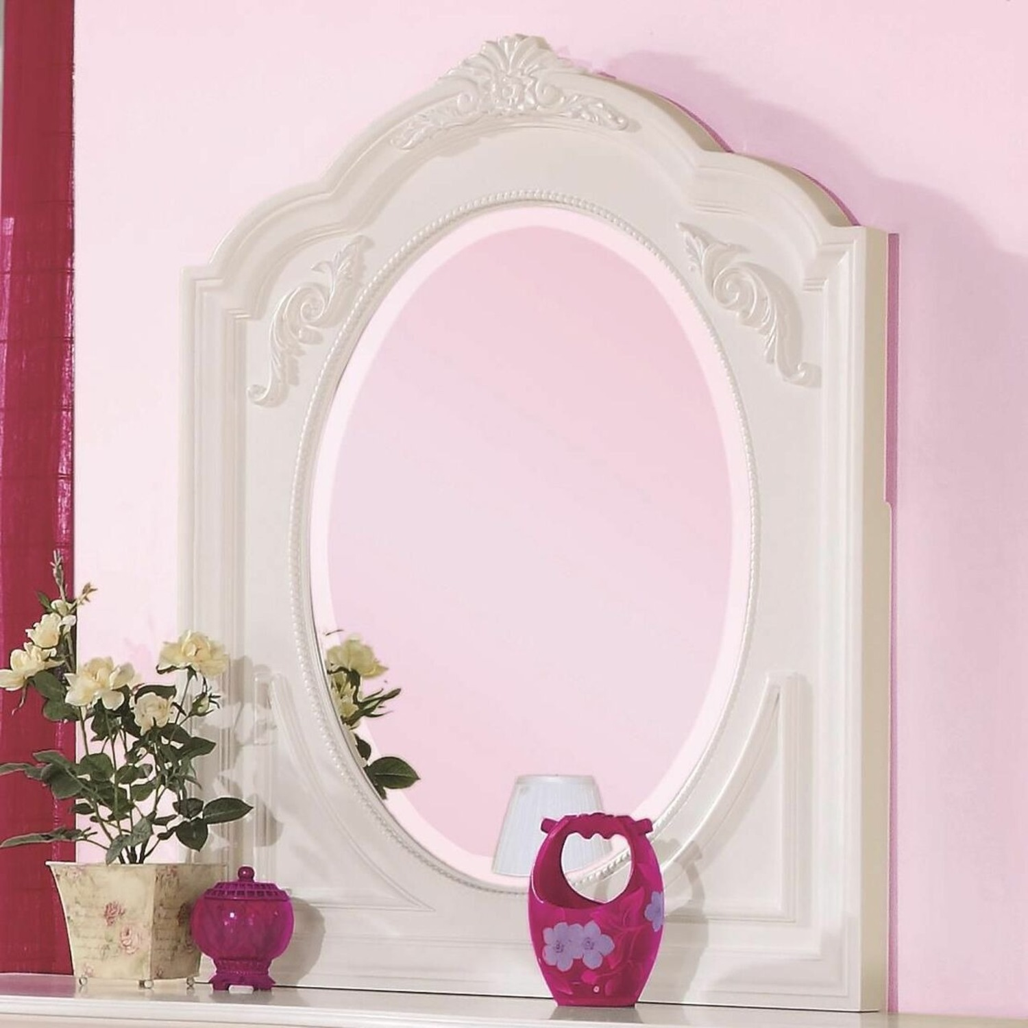 Opulent Style Mirror In White Frame Finish - image-1