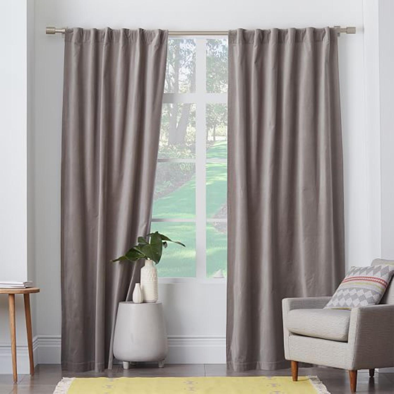 West Elm Dove Grey Velvet Blackout Curtain - image-1
