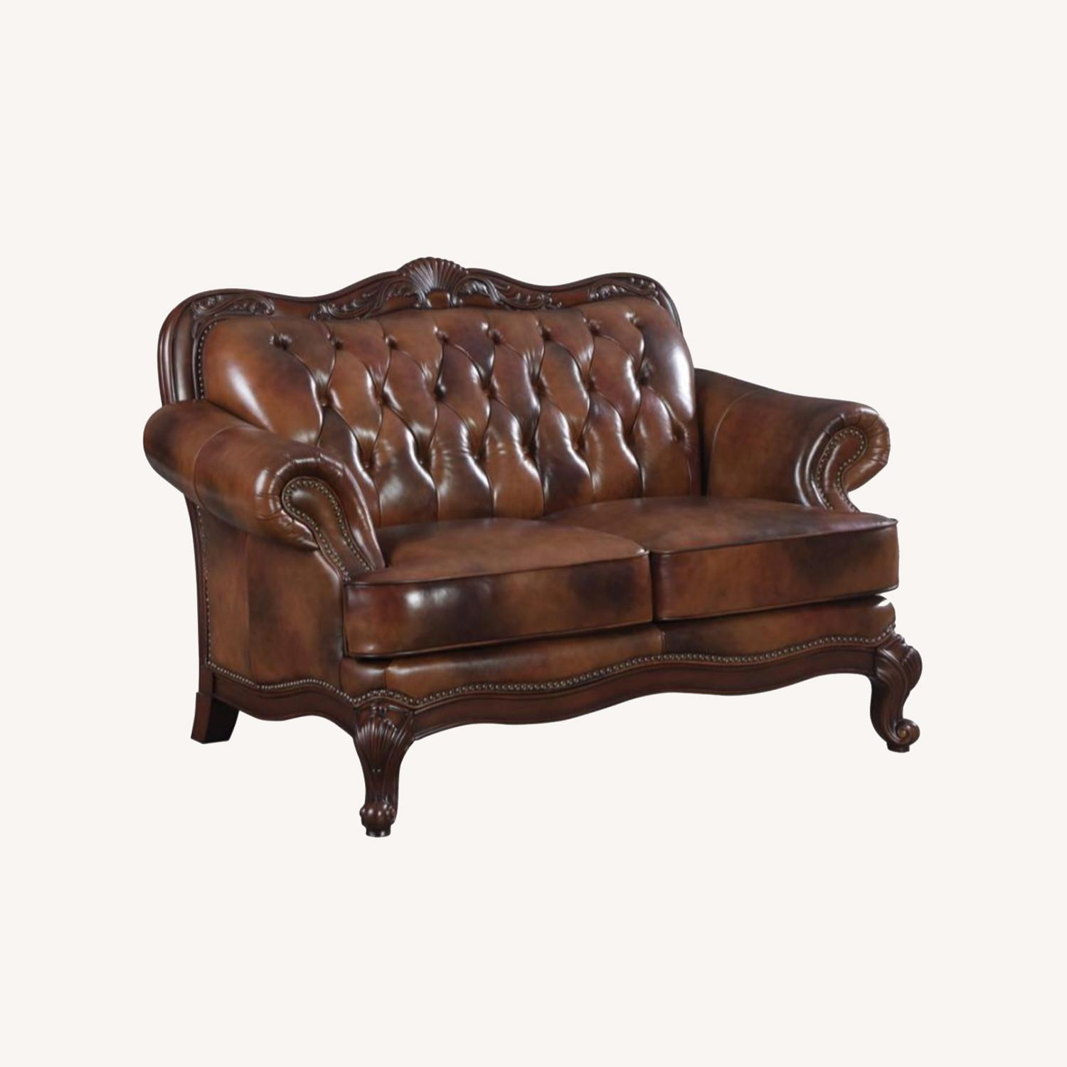 Loveseat In Tri-Tone Leather Finish - image-3