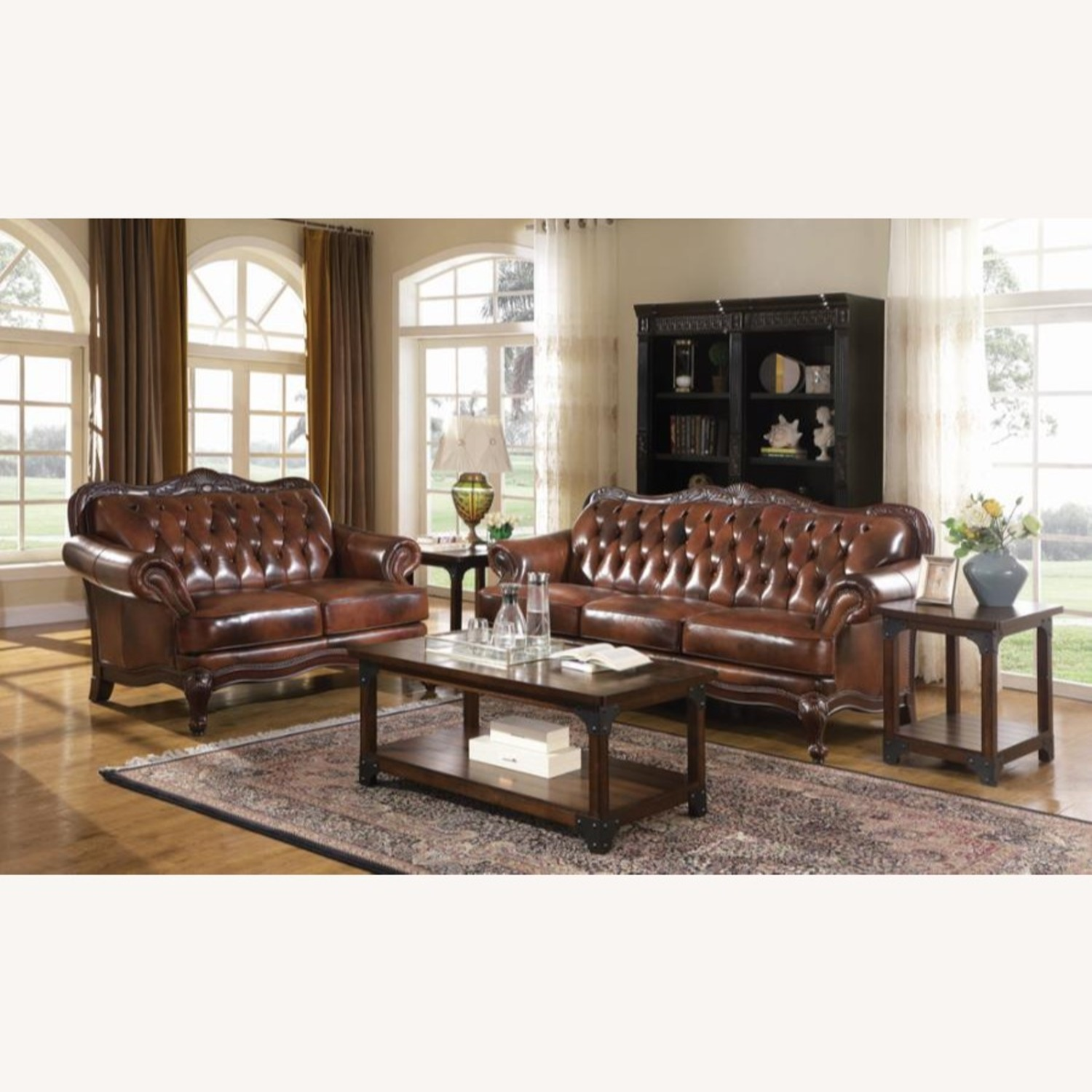 Loveseat In Tri-Tone Leather Finish - image-2
