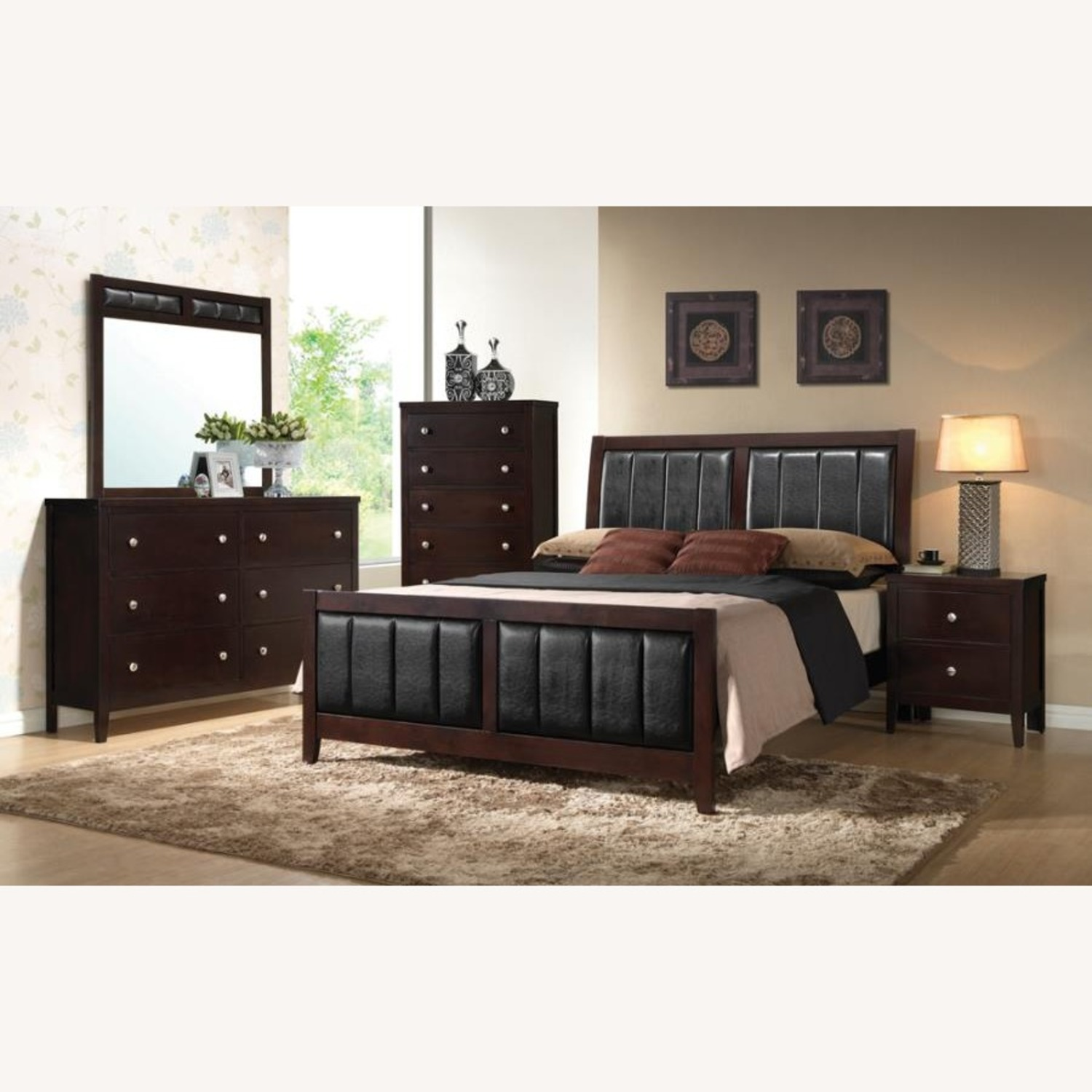 King Bed In Cappuccino Finish W/ Black Fabric - image-1