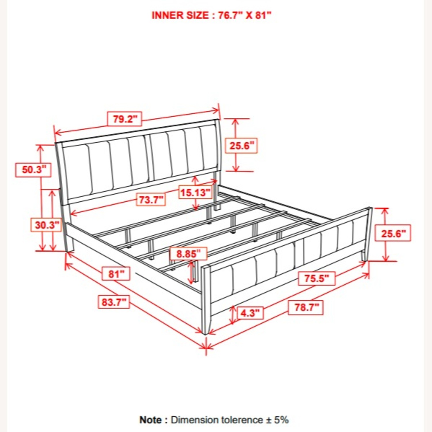 King Bed In Cappuccino Finish W/ Black Fabric - image-2