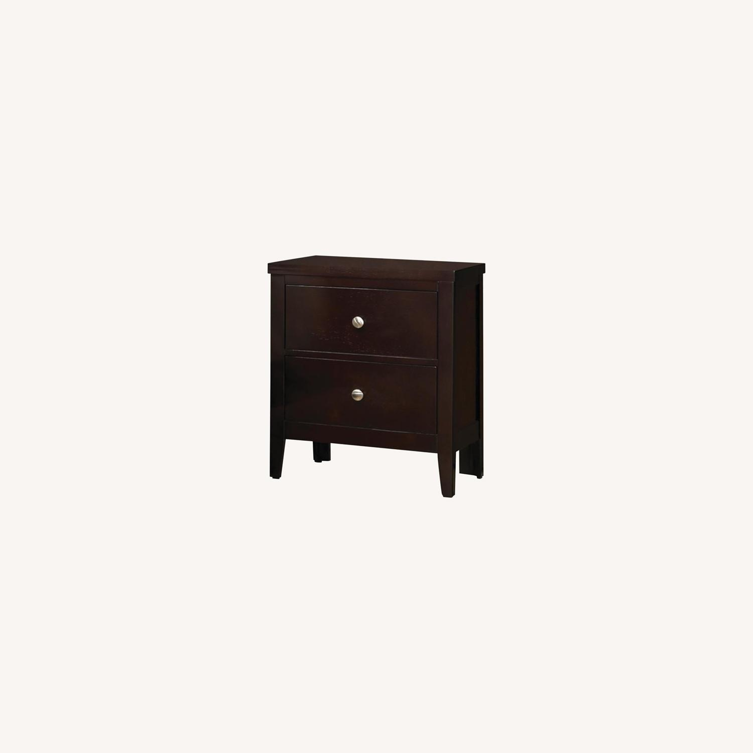 Nightstand In Cappuccino Finish w/ Silver Knobs - image-3