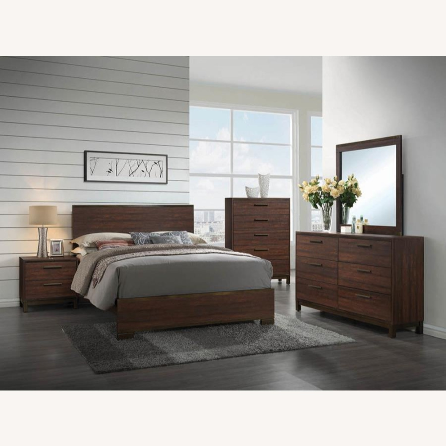 Queen Bed In Rustic Tobacco Finish - image-1