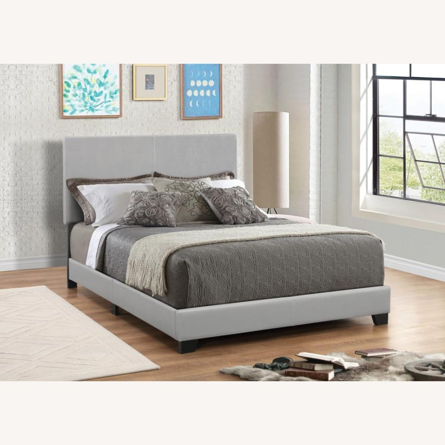 Full Bed Upholstered In Grey Leatherette Finish - image-2