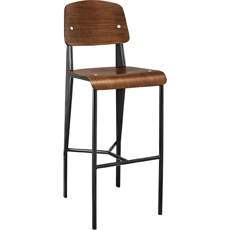 Bar Stool In Walnut Bentwood Back & Black Finish - image-0