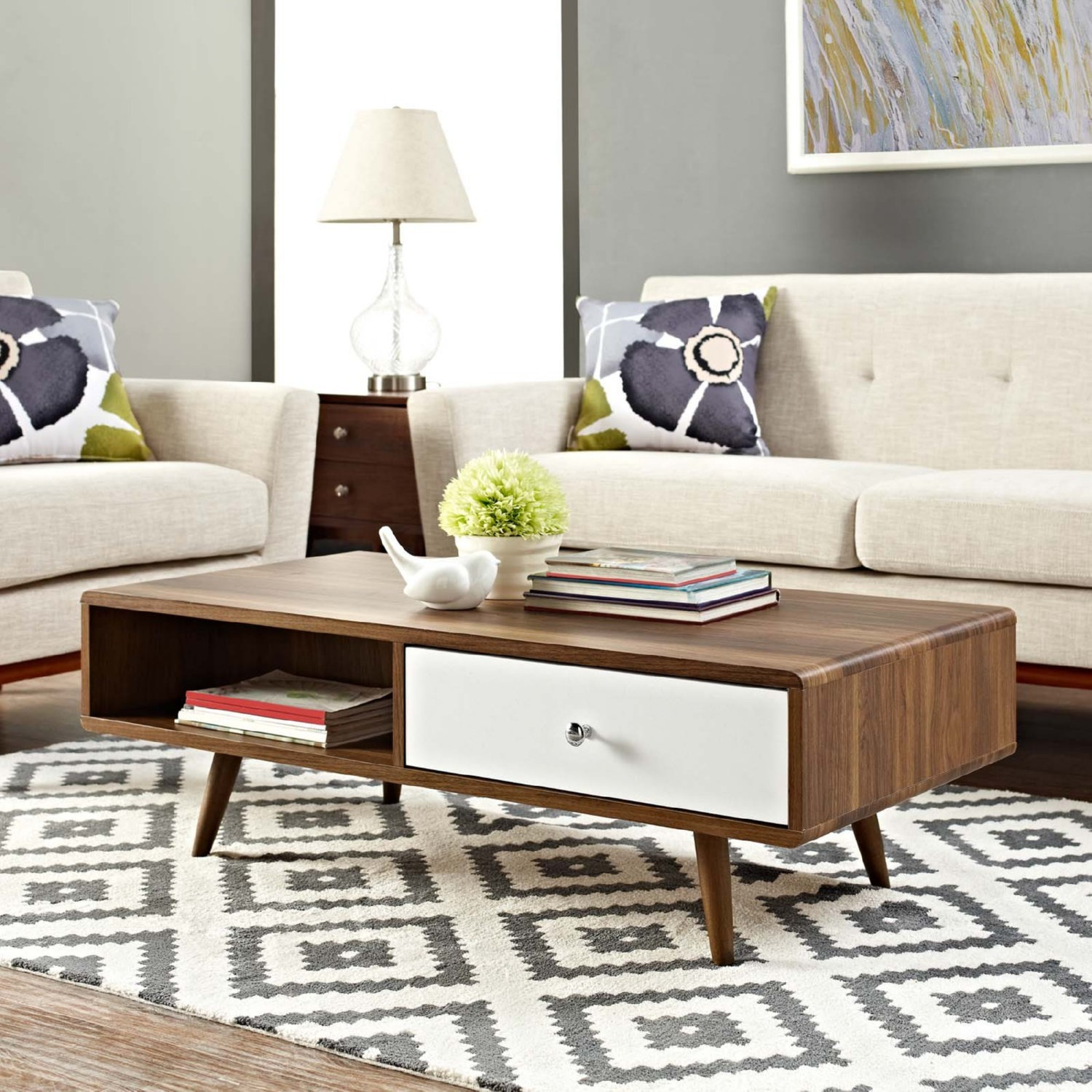 Modern Style Coffee Table In Walnut Finish - image-4
