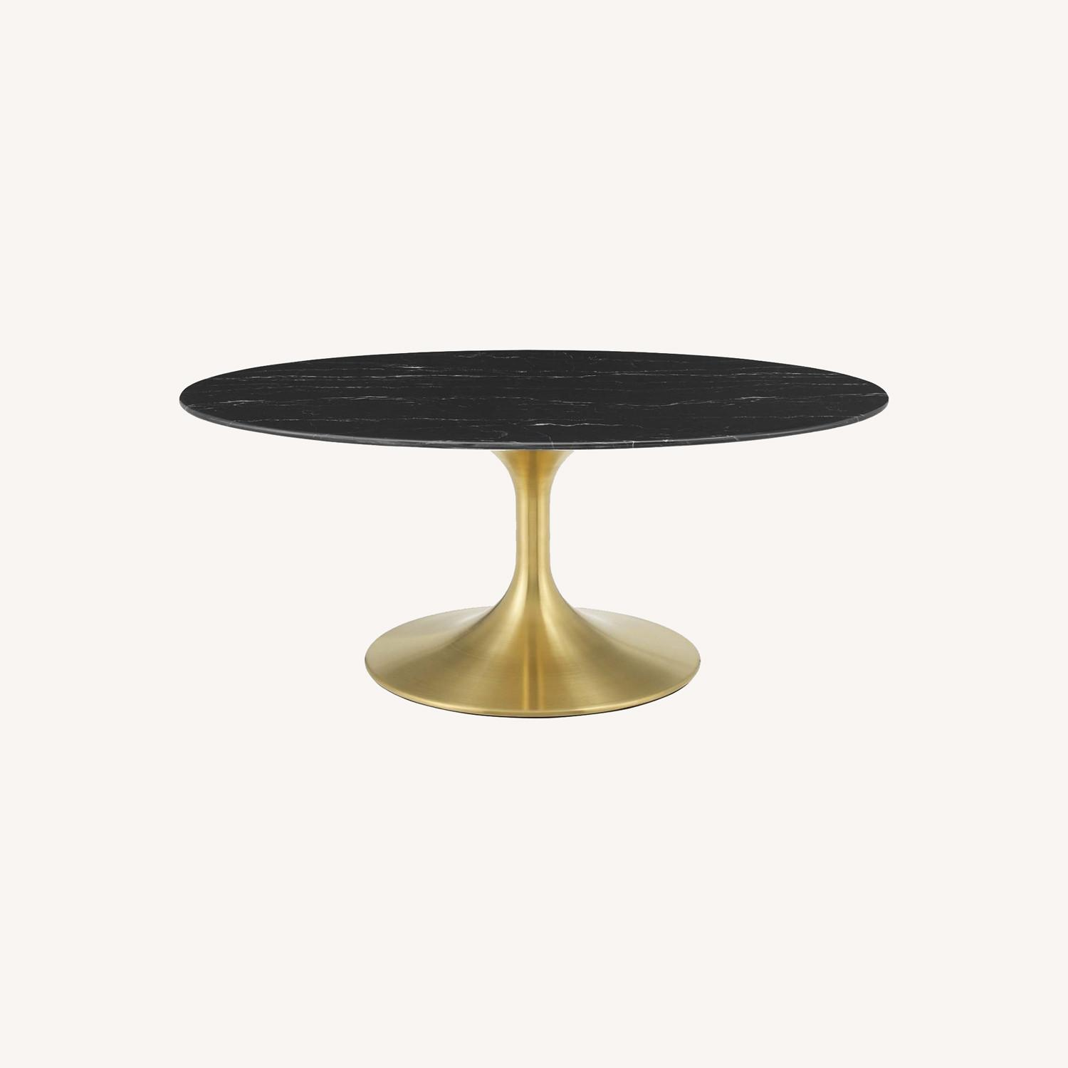 """42"""" Oval Coffee Table In Black Artificial Marble - image-5"""