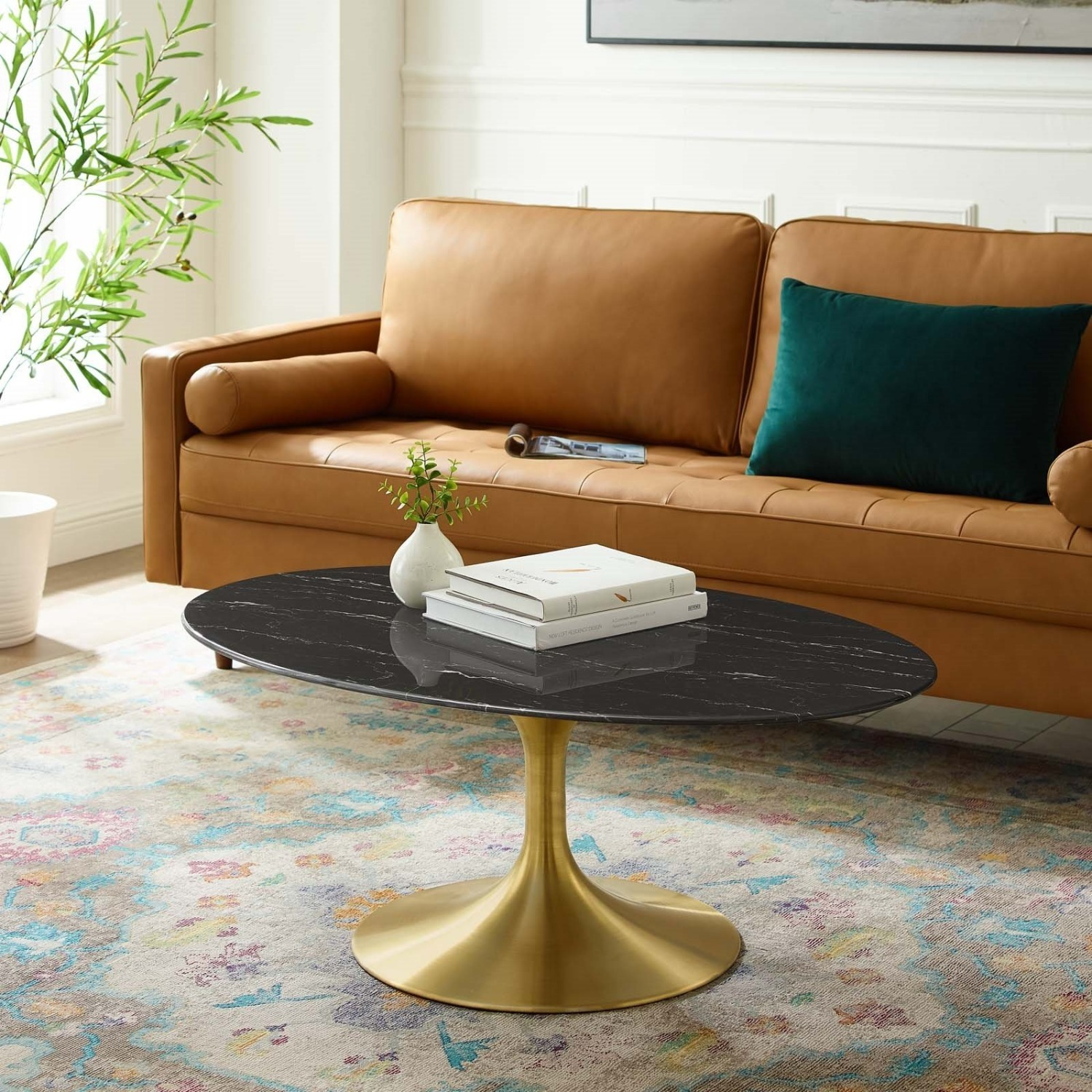 """42"""" Oval Coffee Table In Black Artificial Marble - image-4"""
