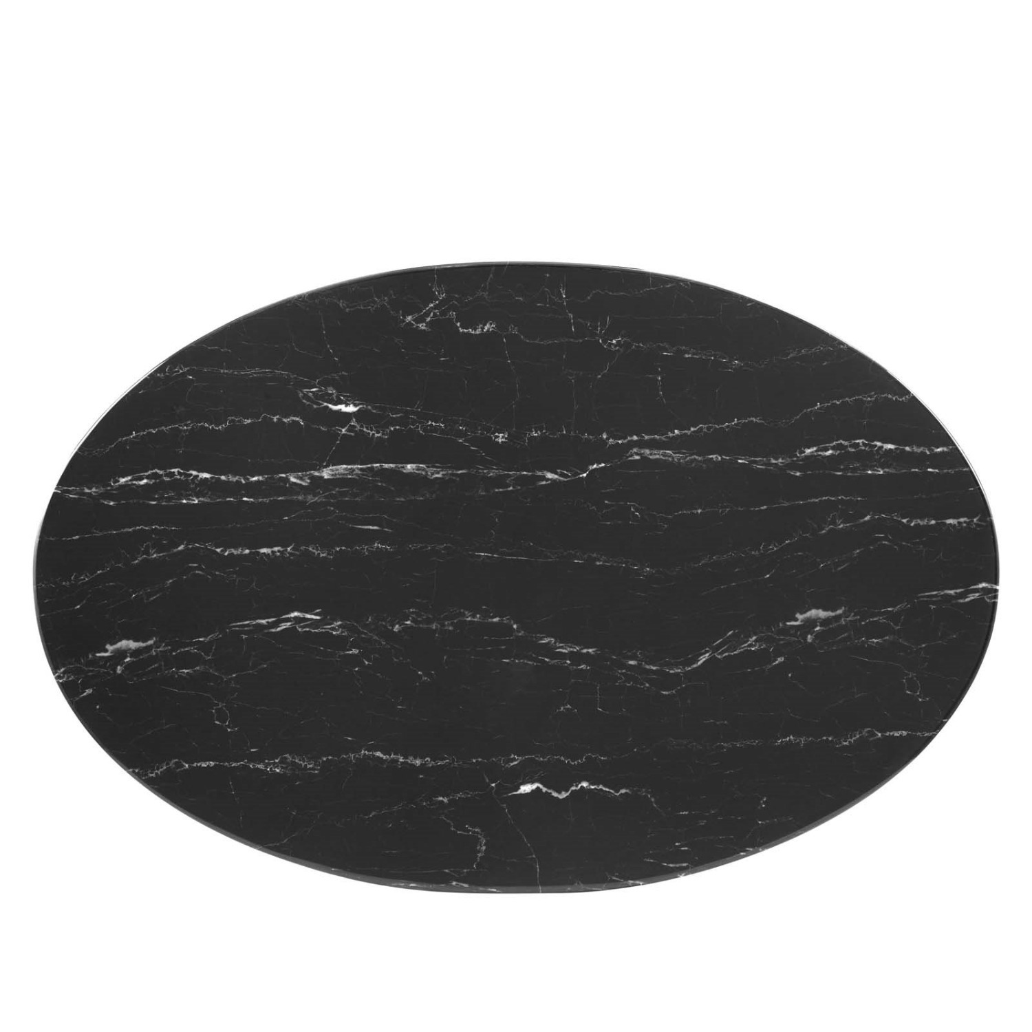 """42"""" Oval Coffee Table In Black Artificial Marble - image-1"""