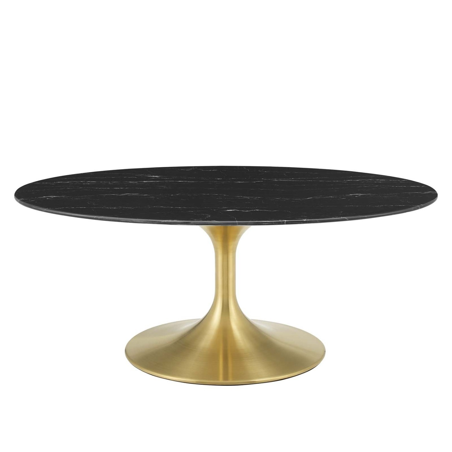 """42"""" Oval Coffee Table In Black Artificial Marble - image-0"""