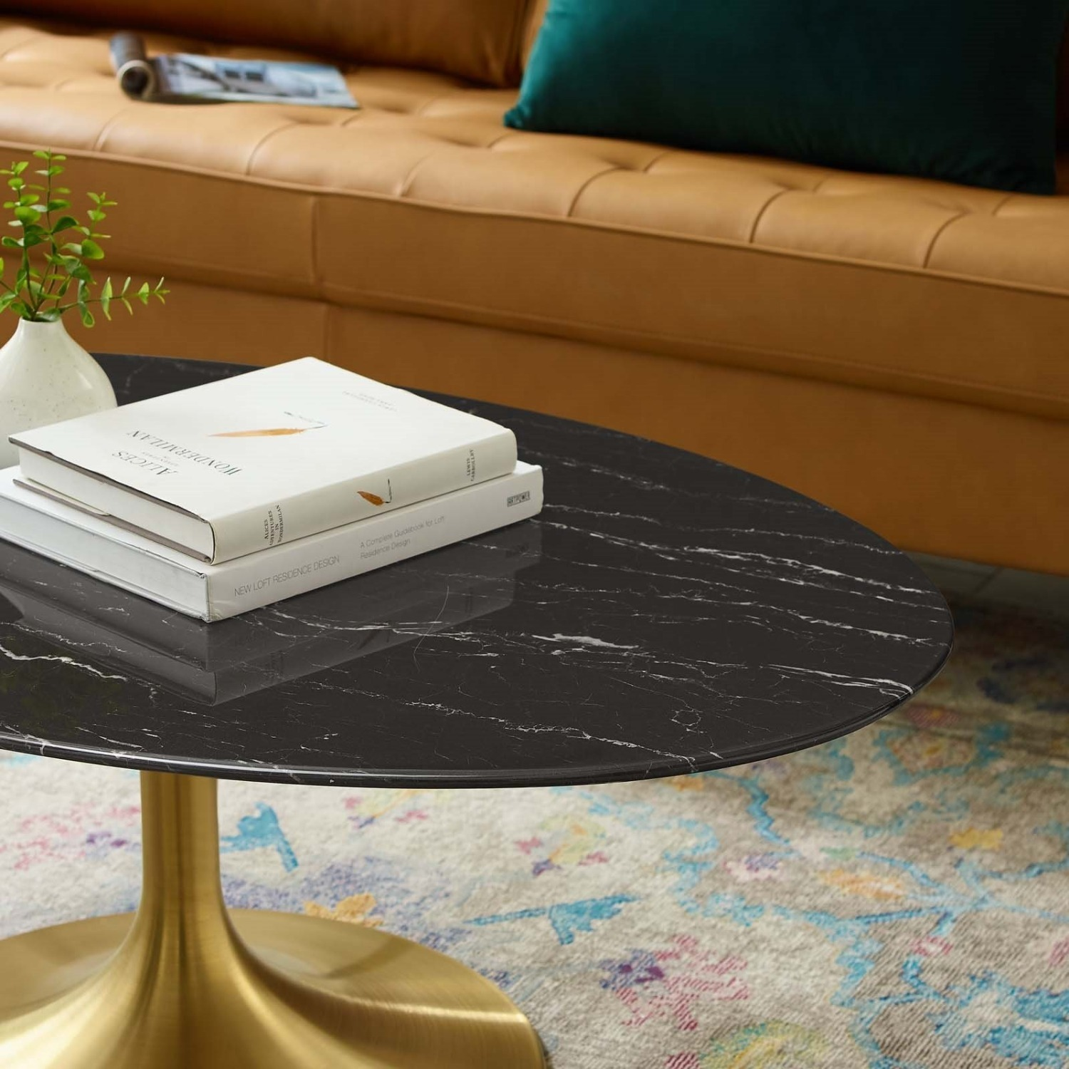 """42"""" Oval Coffee Table In Black Artificial Marble - image-3"""