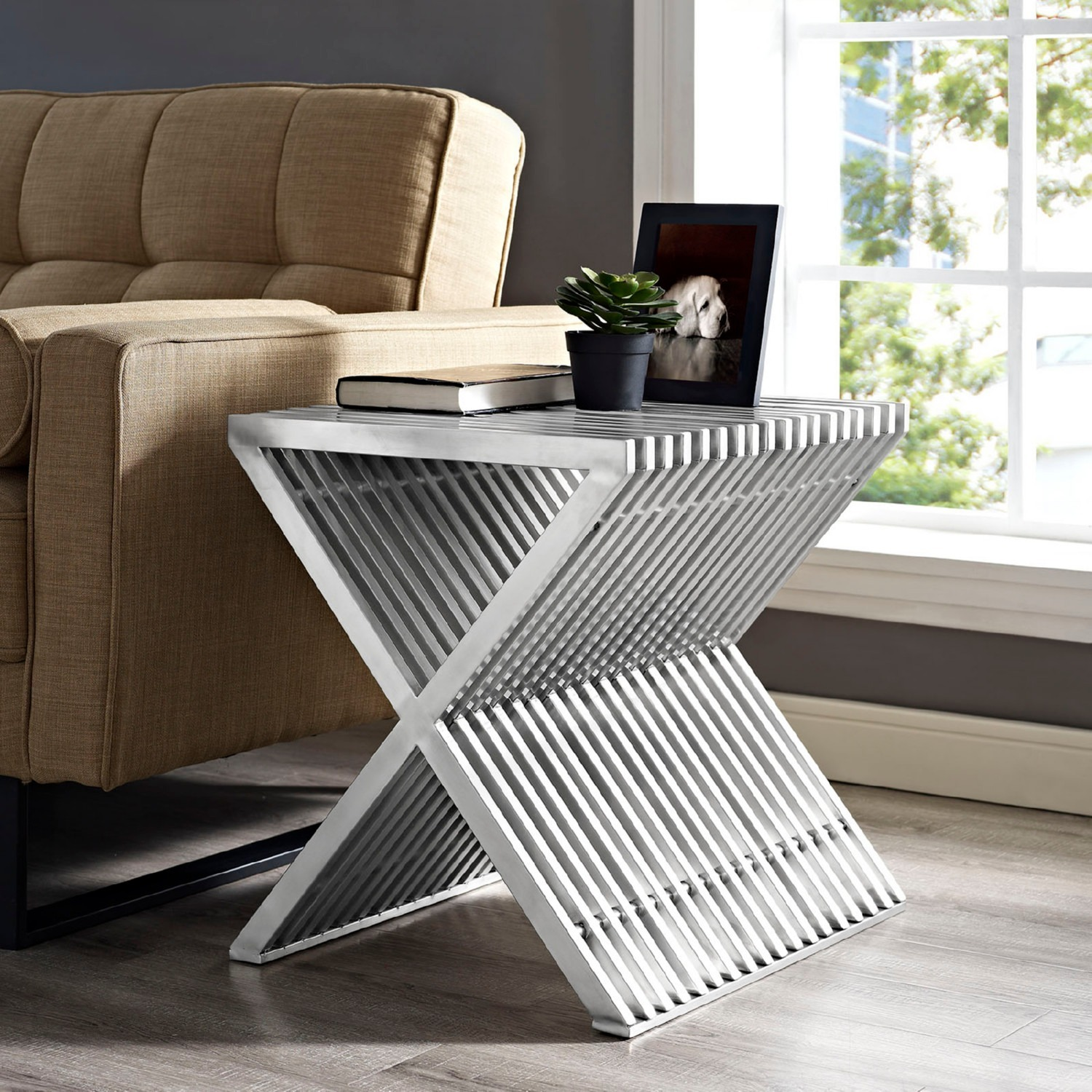 Modern Side Table In Silver Stainless Steel Finish - image-2