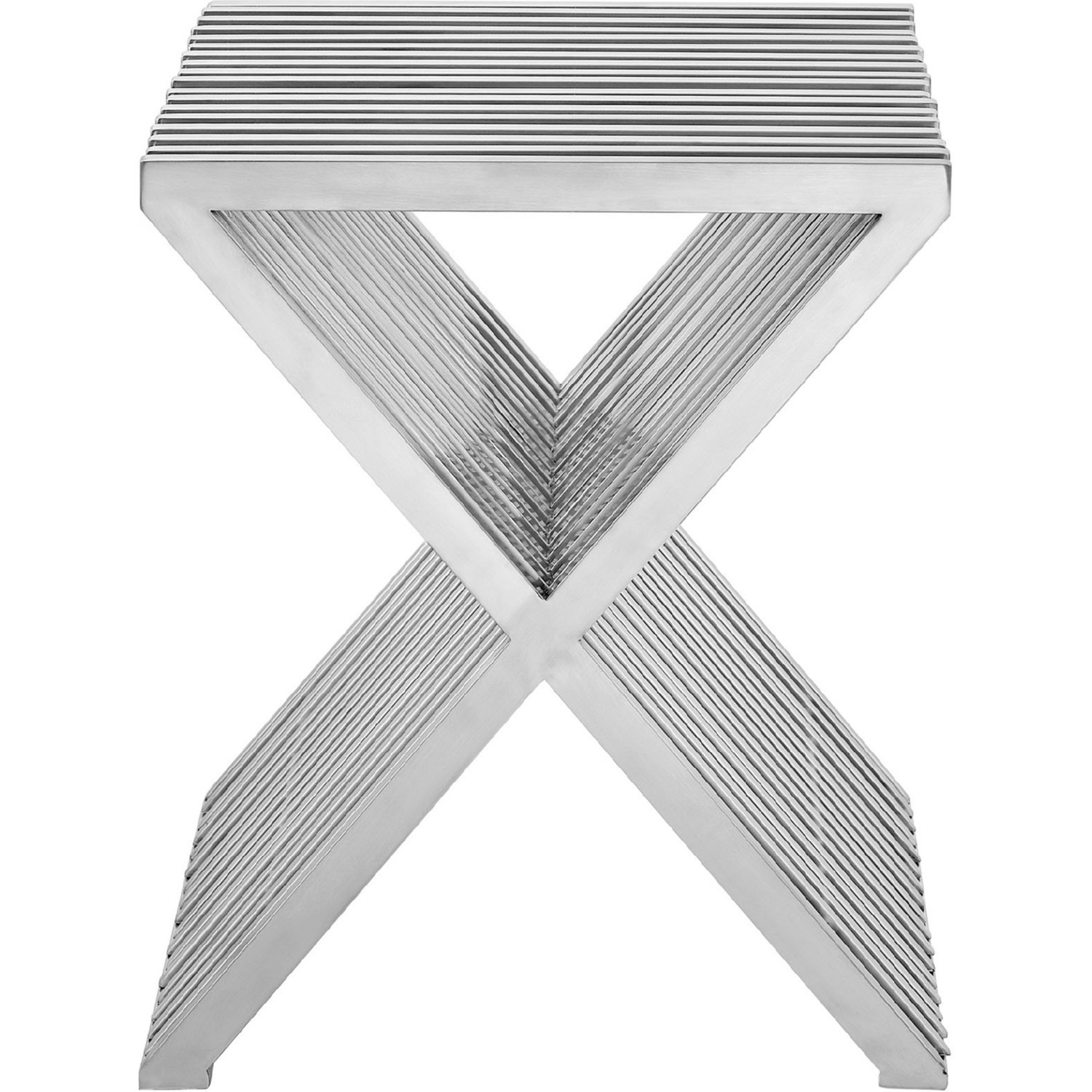 Modern Side Table In Silver Stainless Steel Finish - image-0
