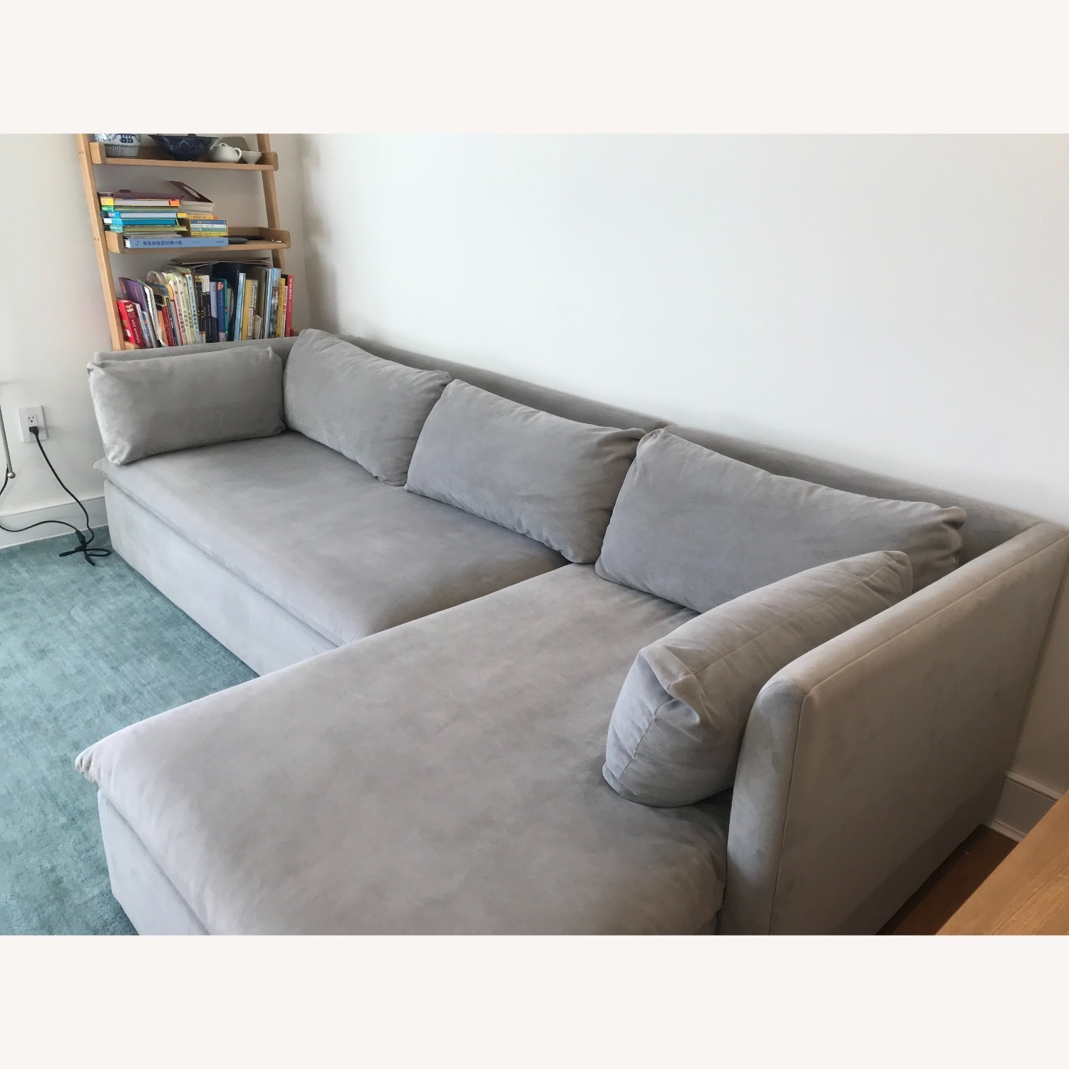 West Elm Shelter Sectional Sofa Dove Gray - image-2