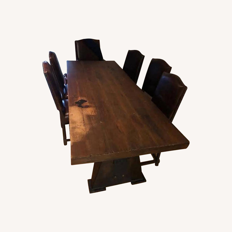 Custom-Made Rustic Iron & Oak Table - image-0
