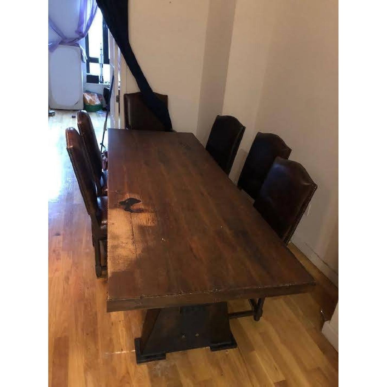 Custom-Made Rustic Iron & Oak Table - image-1