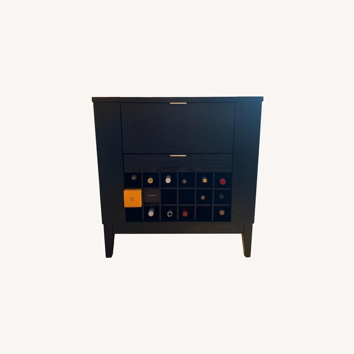 Crate and Barrell Black Bar Cabinet - image-0