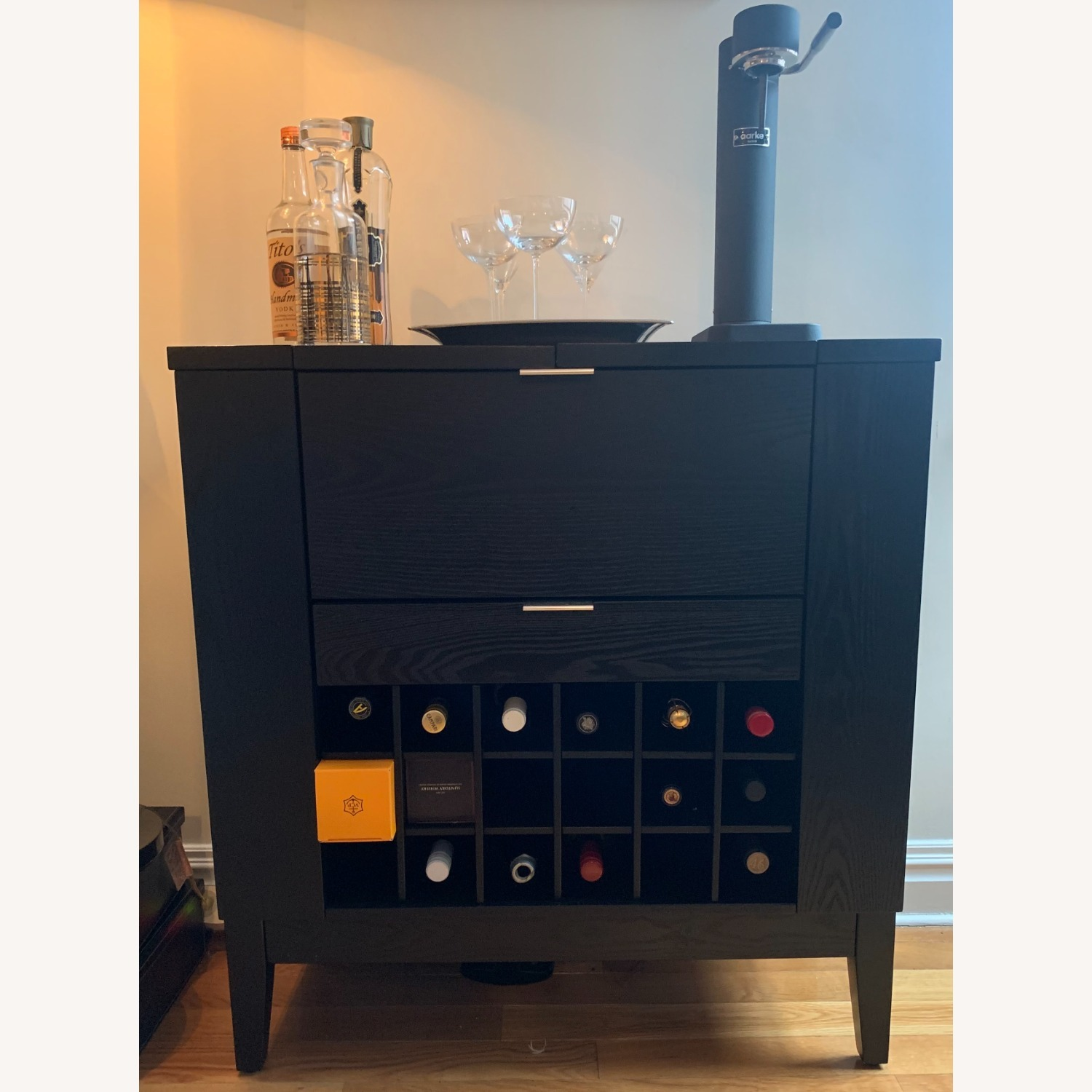 Crate and Barrell Black Bar Cabinet - image-1