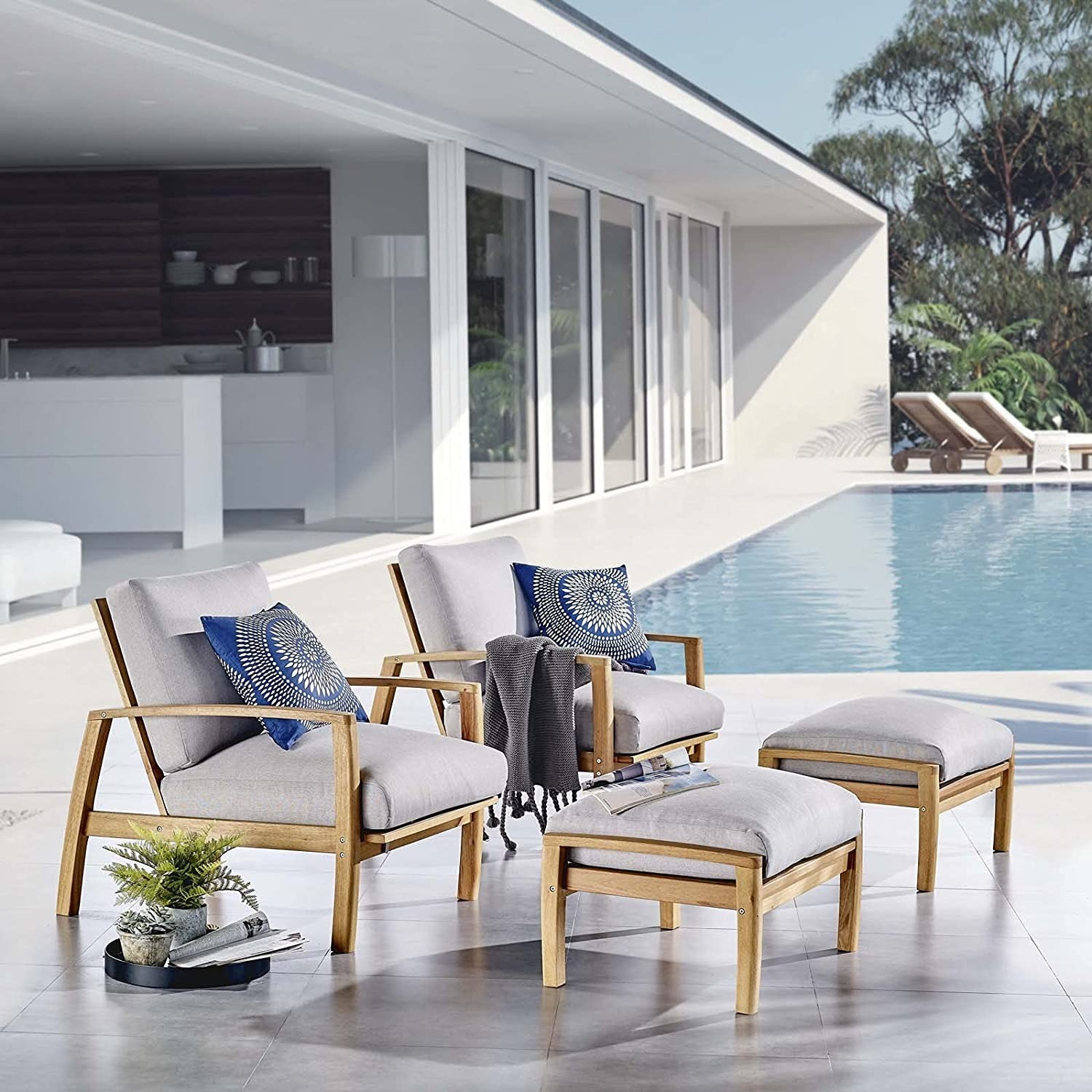 4-Piece Outdoor Patio Set In Natural Wood Finish - image-6