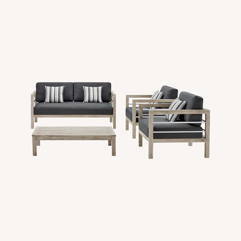 4-Piece Outdoor Patio Set In Light Gray Wood - image-14