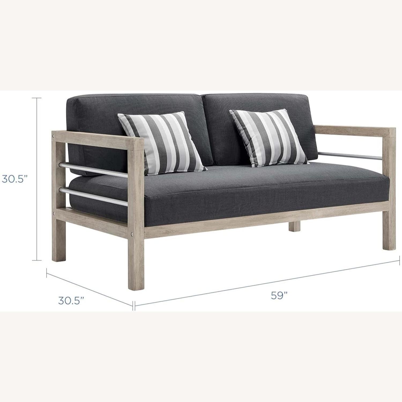 4-Piece Outdoor Patio Set In Light Gray Wood - image-2