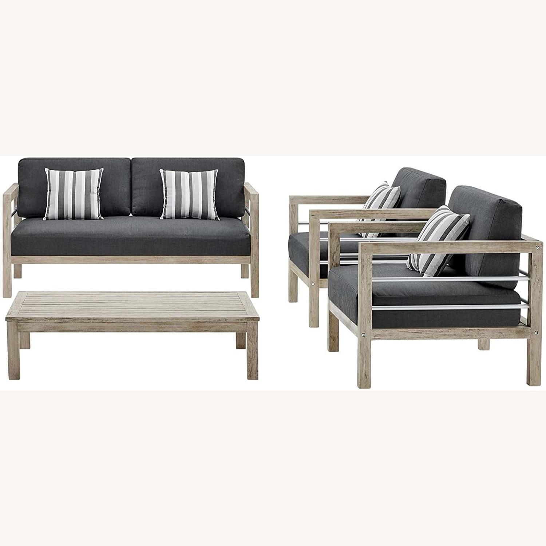 4-Piece Outdoor Patio Set In Light Gray Wood - image-0