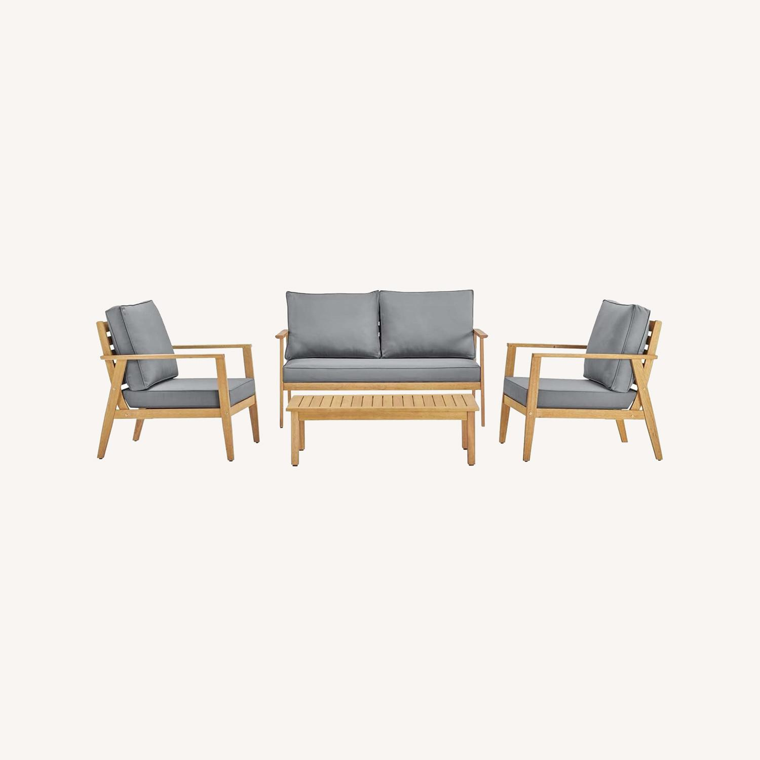 4-Piece Outdoor Patio Set In Natural Gray Wood - image-4